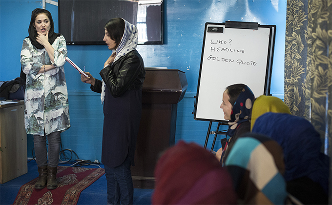 Training session for female Afghan reporters