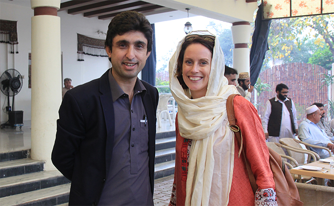 Tayyeb Afridi (left) and Aela Callan (right) in Pakistan.